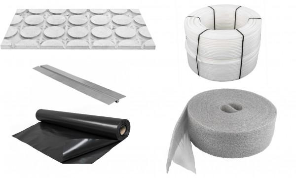 Trockenbausystem (mit Strukturplatten und Wärmeleitlamellen sowie Fertigteileestrich) Preis pro m²